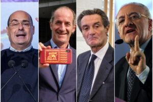 """Governatori e covid, il sondaggio: Zaia in testa, De Luca """"baluardo"""" del Sud, Fontana sprofonda"""