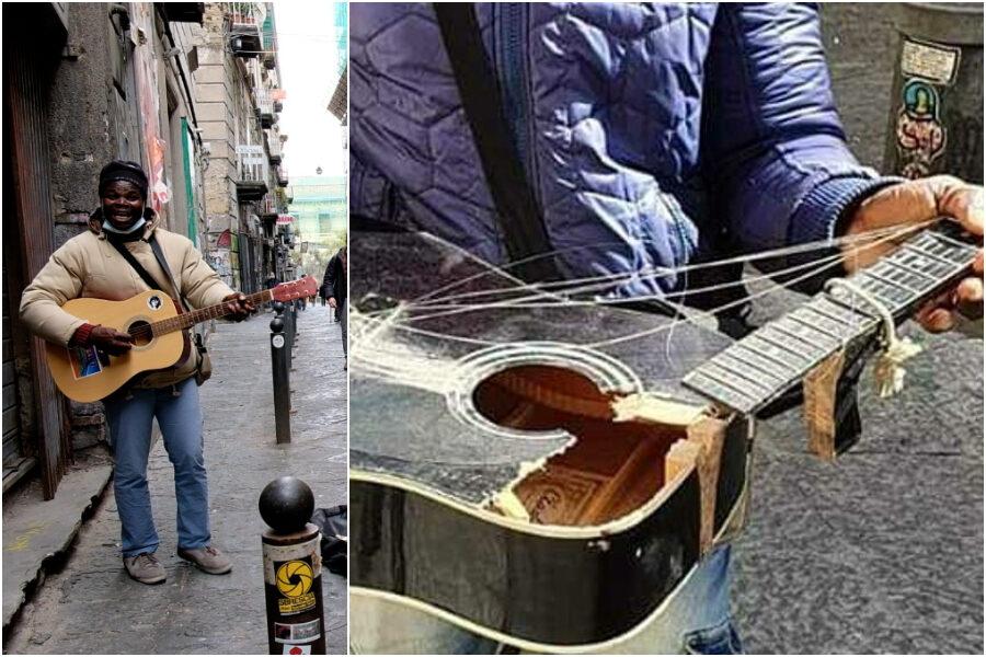 """""""Mi hanno spezzato la chitarra, i napoletani me ne hanno comprate tre"""", ora Joseph può tornare a rallegrare il centro storico"""