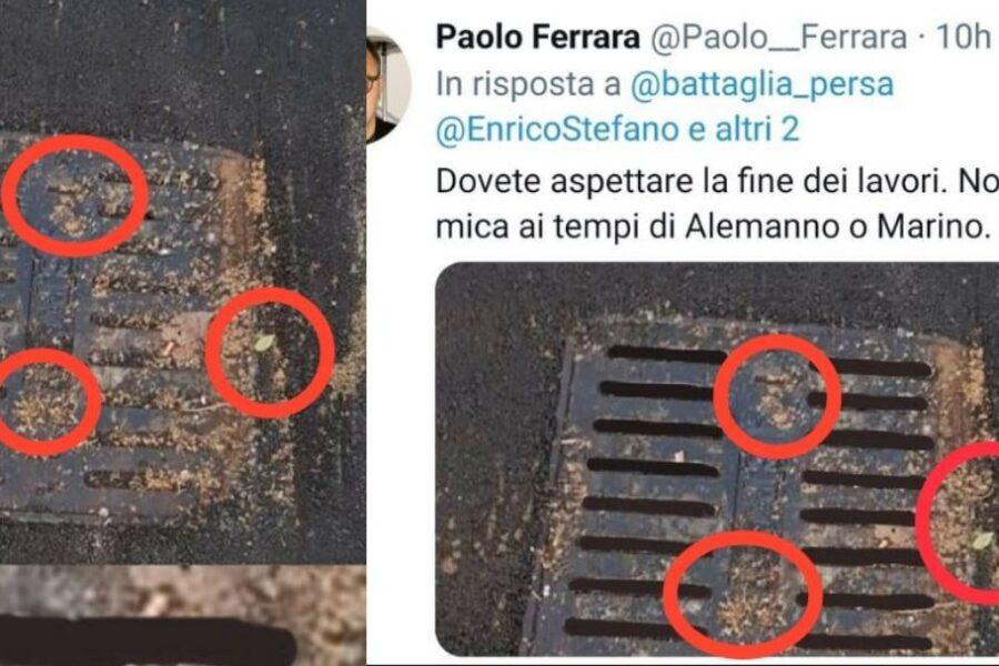 Tombino ritoccato con PhotoShop, la gaffe del grillino Ferrara a Roma: così la giunta Raggi 'ripara' la città