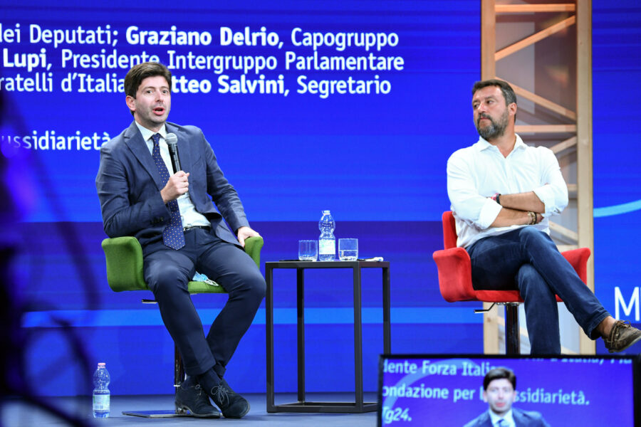 Foto LaPresse – Massimo Paolone 21 agosto 2020 Rimini (Italia) Cronaca Rimini Meeting 2020 Edizione 41 Special Edition – Il Parlamento serve ancora? Nella foto: Roberto Speranza, Matteo Salvini  Photo LaPresse – Massimo Paolone 21 August 2020, Rimini (Italy) Rimini Meeting 2020 Edition 41 Special Edition – Is Parliament still needed? In the pic: Roberto Speranza, Matteo Salvini