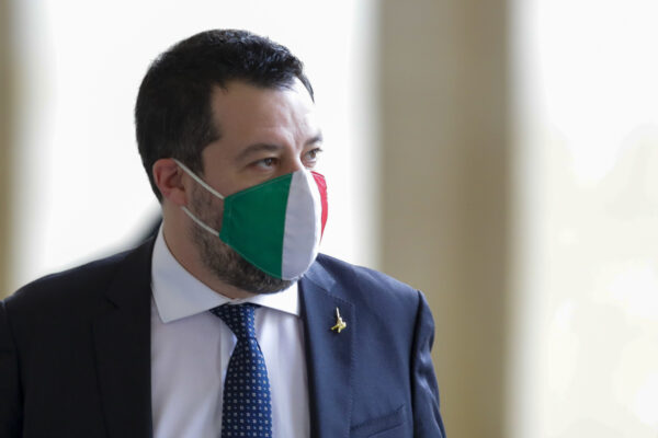 The League party leader Matteo Salvini arrives at the Quirinale presidential palace where Italian President Sergio Mattarella is meeting political parties trying to find a viable solution to the political crisis, in Rome Friday, Jan. 29, 2021. Italian Premier Giuseppe Conte resigned after a key coalition ally pulled his party's support over Conte's handling of the coronavirus pandemic, setting the stage for consultations this week to determine if he can form a third government. (AP Photo/Andrew Medichini)