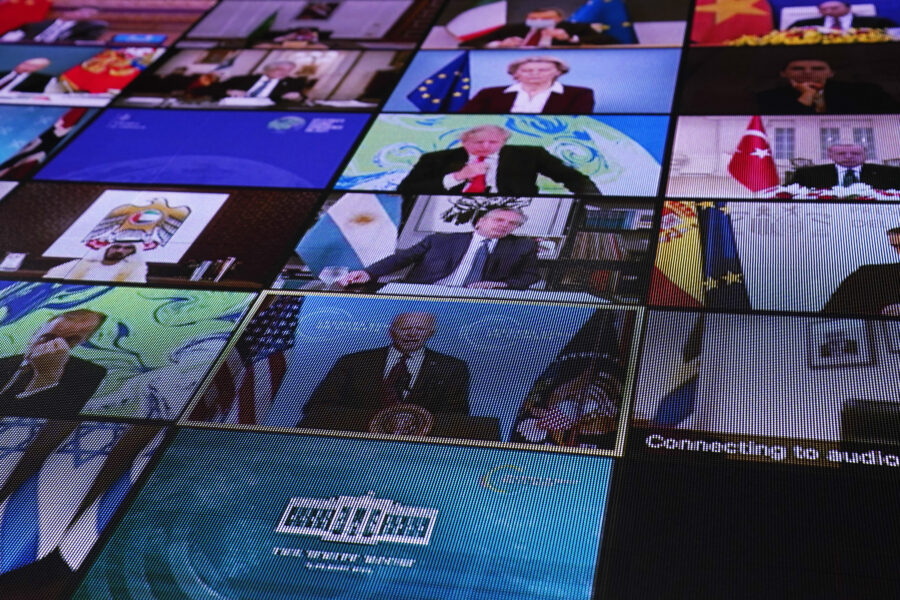 World leaders virtually attend the Leaders Summit on Climate, as seen from the East Room of the White House, Thursday, April 22, 2021, in Washington. (AP Photo/Evan Vucci)