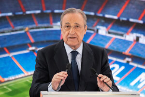 Real Madrid president Florentino Perez during the presentation Belgium´s Eden Hazard  as Real Madrid new player at Santiago Bernabeu Stadium in Madrid, Spain, 13 June 2019
