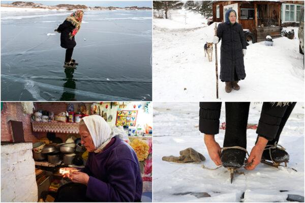 A 80 anni pattina sul lago ghiacciato, le immagini della nonnina fanno il giro del mondo