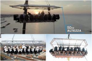 Dinner in the Sky arriva a Napoli: pranzi, cene e aperitivi a 50 metri d'altezza