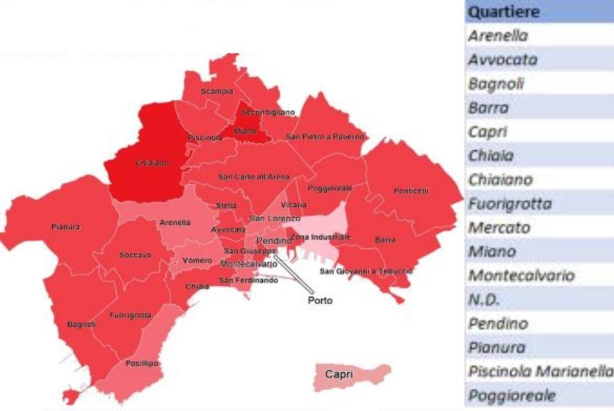 Covid a Napoli, la mappa dei contagi e delle vittime quartiere per quartiere