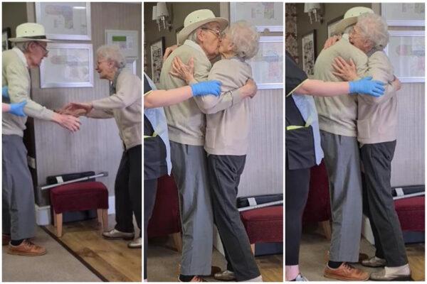 """Coppia di anziani si riunisce dopo otto mesi: il dolce """"ti amo"""" e il bacio tanto atteso"""