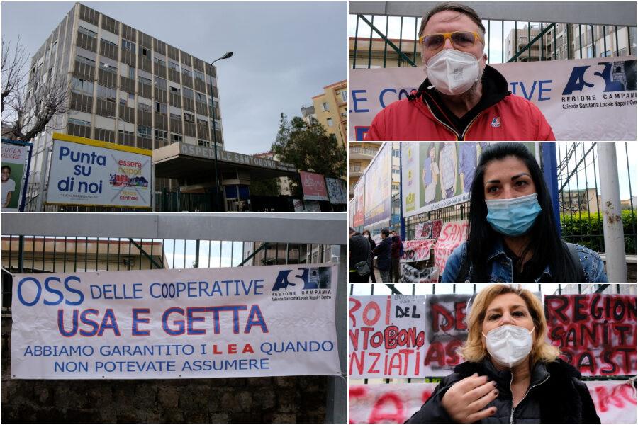 """""""Eravamo eroi e angeli ma ora ci licenziano"""", la protesta dei sanitari precari al Santobono"""