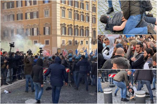 """Proteste a Roma, manifestanti vogliono entrare alla Camera: """"Fateci passare"""""""