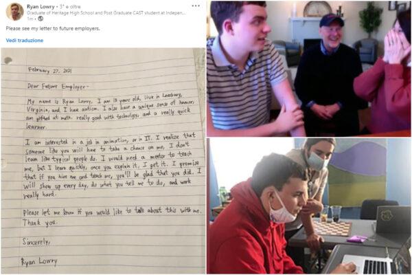 """Storia di Ryan, il ragazzo autistico che cerca lavoro su Linkedin: """"Scommettete su di me"""""""