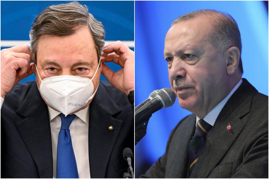 """Erdogan """"dittatore"""", la replica a Draghi: """"Parole indecenti, distrutti rapporti Italia-Turchia"""""""
