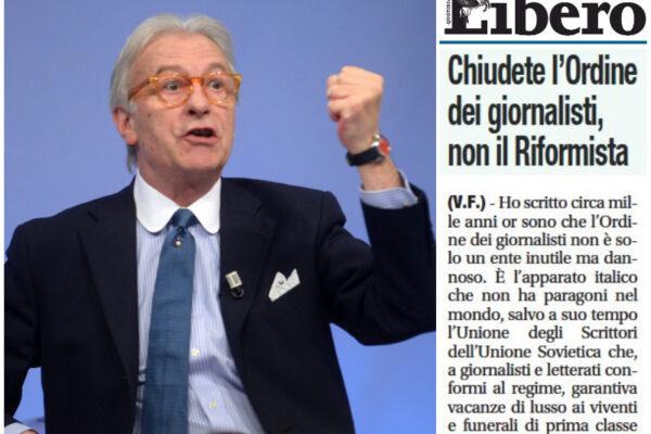 """Feltri difende Sansonetti: """"Fior di giornalista, chiudete l'Ordine non il Riformista"""""""