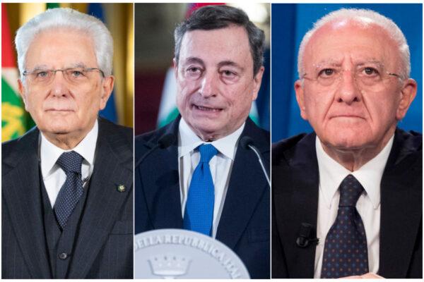 Sui vaccini De Luca gioca allo scaricabarile con Draghi e Mattarella
