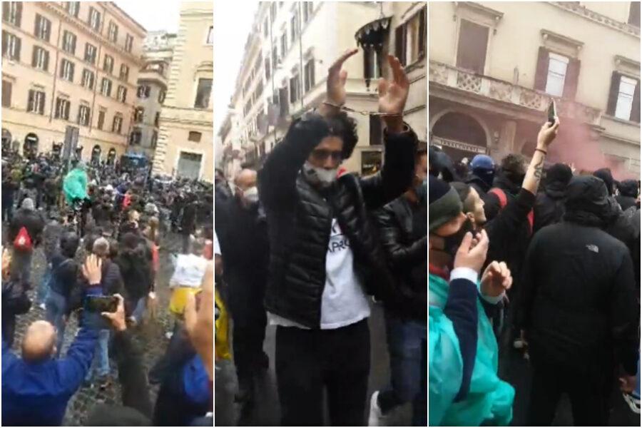 Scontri e petardi alla protesta dei ristoratori: In 800 in piazza San Silvestro con le manette ai polsi