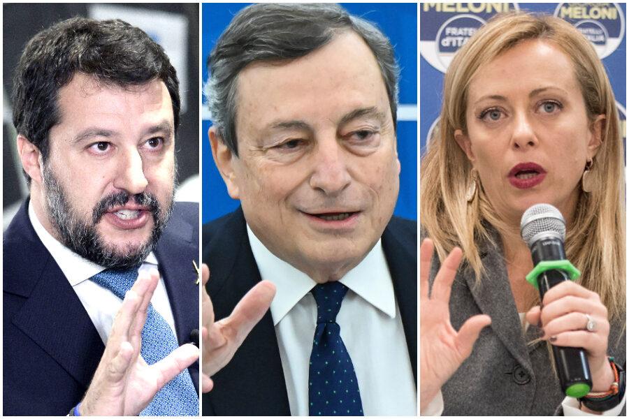 """Meloni coccola Salvini ma parla da premier: """"Mi preparo a governare, Draghi più rigido di Conte"""""""