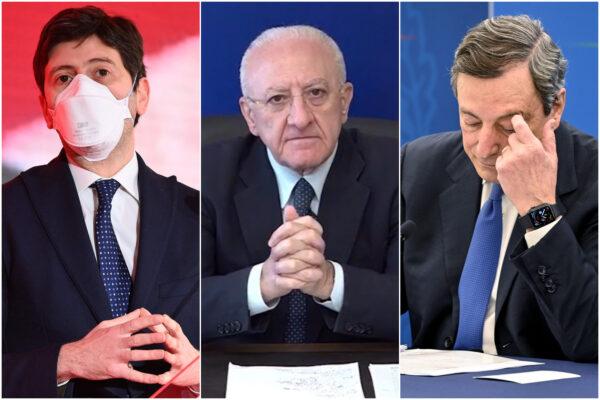 """De Luca e la coscienza a """"corrente alternata"""" di Draghi: """"Zone demenziali, dosi scippate e rabbia giustificata"""""""