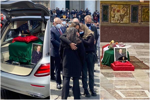 """L'addio al poliziotto Gianni Vivenzio, le lacrime di moglie, figlie e colleghi: """"Papà eri invincibile, dura andare avanti"""""""