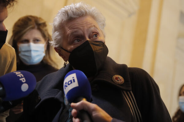 Marina Petrella arrives for an extradition hearing, in Paris, Wednesday, May 5, 2021. After living in freedom for decades in France, nine Italians convicted of left-wing terrorism for attacks in the 1970s and 1980s appeared in a Paris court Wednesday for an extradition hearing. The hearing is a first step in what could be a two- or three-year process to determine whether to send them to Italy. (AP Photo/Christophe Ena)