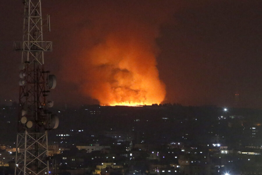 Smoke rises after an Israeli forces strike in Gaza in Gaza City, Monday, May 10, 2021. (AP Photo/Hatem Moussa)