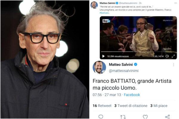 """Battiato da """"piccolo uomo"""" a """"grande Maestro"""": la giravolta di Salvini per la morte del cantautore"""