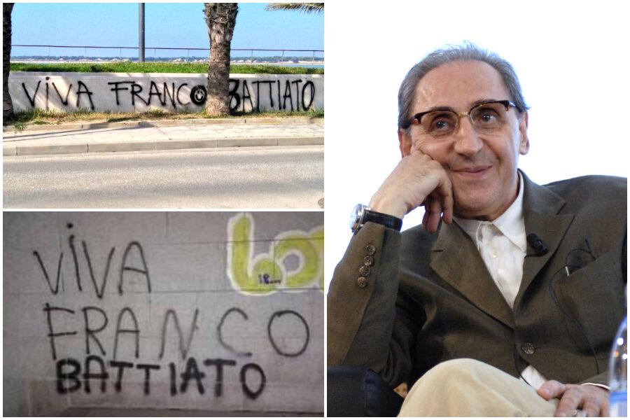 """""""Viva Franco Battiato"""", gli omaggi sui muri in Spagna cancellano le celebrazioni del dittatore"""