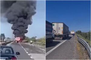 Inferno di fuoco sulla Statale, schianto tra autocisterna e camion: un morto e due feriti, trovato piede mozzato