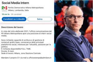 Il PD dalle battaglie contro gli stage alla ricerca di stagisti su LinkedIn: il caso dell'annuncio a Milano