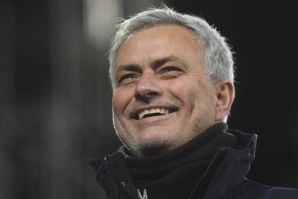 Tottenham's manager Jose Mourinho smiles during the English Premier League soccer match between Fulham v Tottenham Hotspur at the Craven Cottage stadium in London, Thursday, March 4, 2021. (Neil Hall/Pool via AP)
