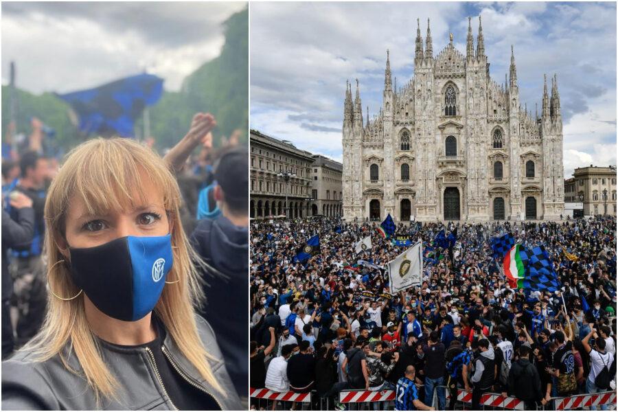 La 'gaffe' di Silvia Sardone: la leghista in piazza a festeggiare l'Inter mentre Salvini attacca Sala per gli assembramenti