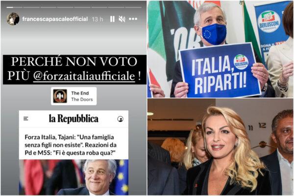 """Per Tajani """"la famiglia senza figli non esiste"""": il numero due di Forza Italia scaricato anche da Francesca Pascale"""