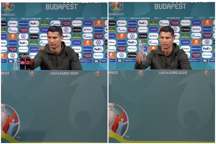"""Perché Cristiano Ronaldo ha nascosto la Coca Cola in conferenza stampa con il Portogallo: """"Bevete acqua!"""""""