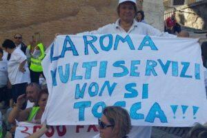 Protesta della Multiservizi a Roma