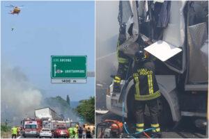 Maxi tamponamento tra tir sull'A14, due camionisti morti nell'impatto: mezzi in fiamme e un ferito grave