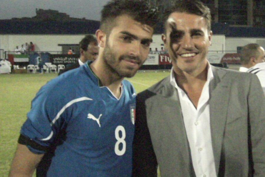 Giuseppe Perrino, con Fabio Cannavaro, indossa la maglia della Nazionale Lega Pro