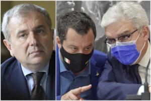 Da sinistra: Giuseppe Santalucia (Anm), Matteo Salvini e Maurizio Turco