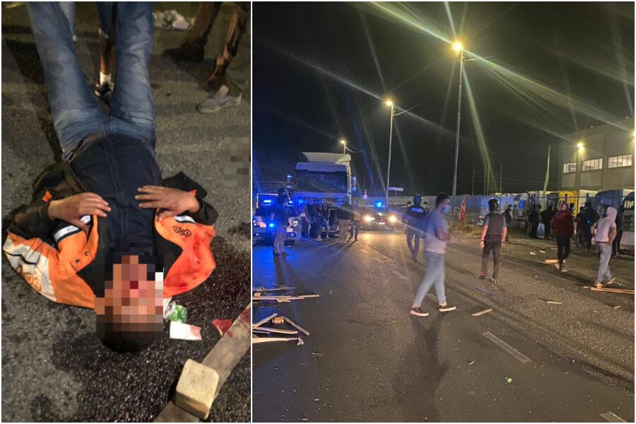"""Guerriglia durante presidio di lavoratori a Tavazzano, operaio grave: """"Aggrediti con bastoni e taser"""""""