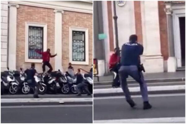 """""""Spara, spara"""", uomo armato di coltello provoca i poliziotti: ferito da un proiettile all'inguine"""