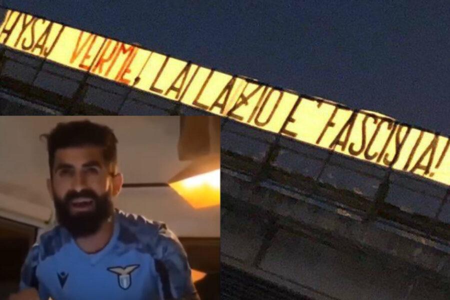 """""""Verme, la Lazio è fascista!"""". Nuovo attacco degli ultrà biancocelesti contro Hysaj, dopo gli insulti ora lo striscione"""