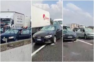 """Violenta grandinata in autostrada, auto e camion distrutte da pioggia di """"sassi"""""""