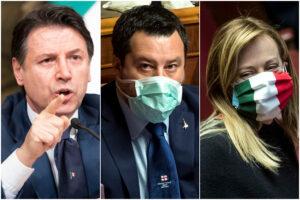 Crolla il M5S spaccato dalla guerra Conte-Grillo, centrodestra vicino al 50%: il sondaggio Ixè premia il duo Salvini-Meloni