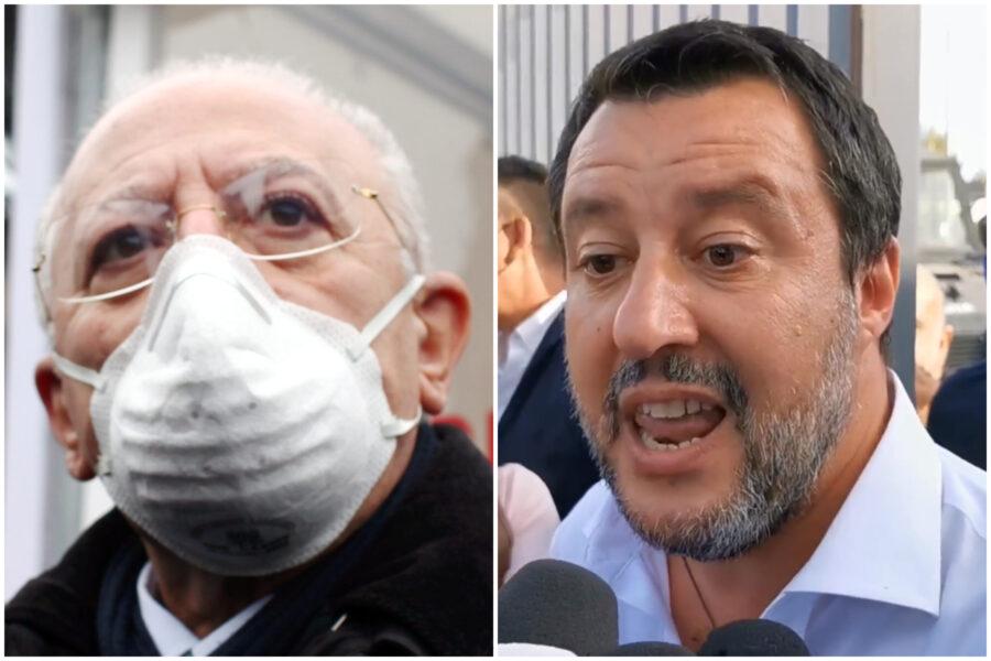 """De Luca 'ringrazia' Salvini: """"Analfabeta di ritorno, ogni volta che viene in Campania guadagno 100mila voti"""""""