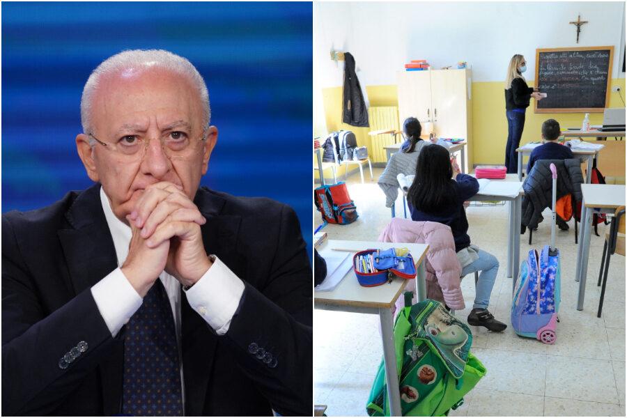"""De Luca contro la Dad: """"Da evitare assolutamente, se non si raggiunge il 70% dei vaccinati in presenza solo studenti immuni"""""""