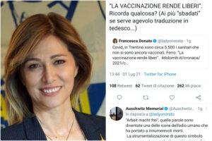 Francesca Donato, l'europarlamentare leghista che cita gli slogan nazisti contro il vaccino
