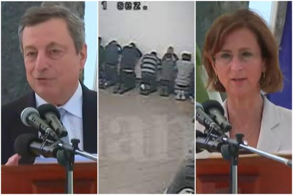 """""""Draghi, Draghi"""", applausi per il premier nel carcere della mattanza. Appello detenuti a Cartabia: """"Facci uscire"""""""
