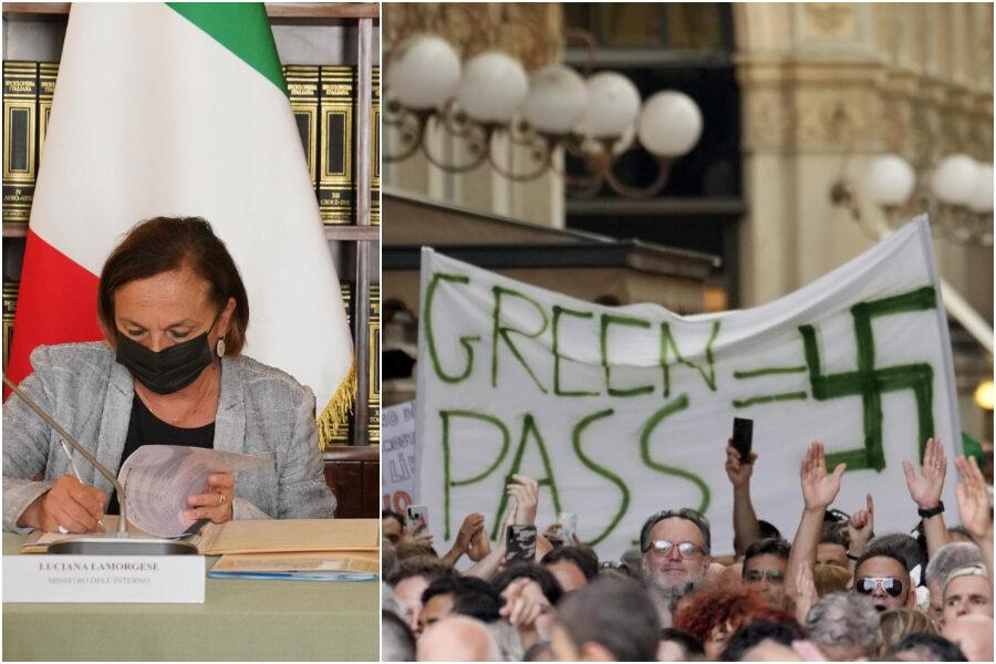 """Piazze no-Green pass, Lamorgese: """"Cortei non autorizzati, dittatura sanitaria non esiste"""""""