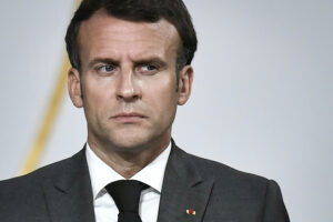 French President Emmanuel Macron attends a press conference after a video summit with leaders of G5 Sahel countries at the Elysee presidential Palace in Paris, Friday July 9, 2021. French President Emmanuel Macron said Friday his country will withdraw more than 2,000 troops from an anti-extremism force in Africa's Sahel region starting in the coming months. Macron announced last month a future reduction of France's military presence, arguing that the current operation is no longer adapted to the need. (Stephane de Sakutin, Pool photo via AP)