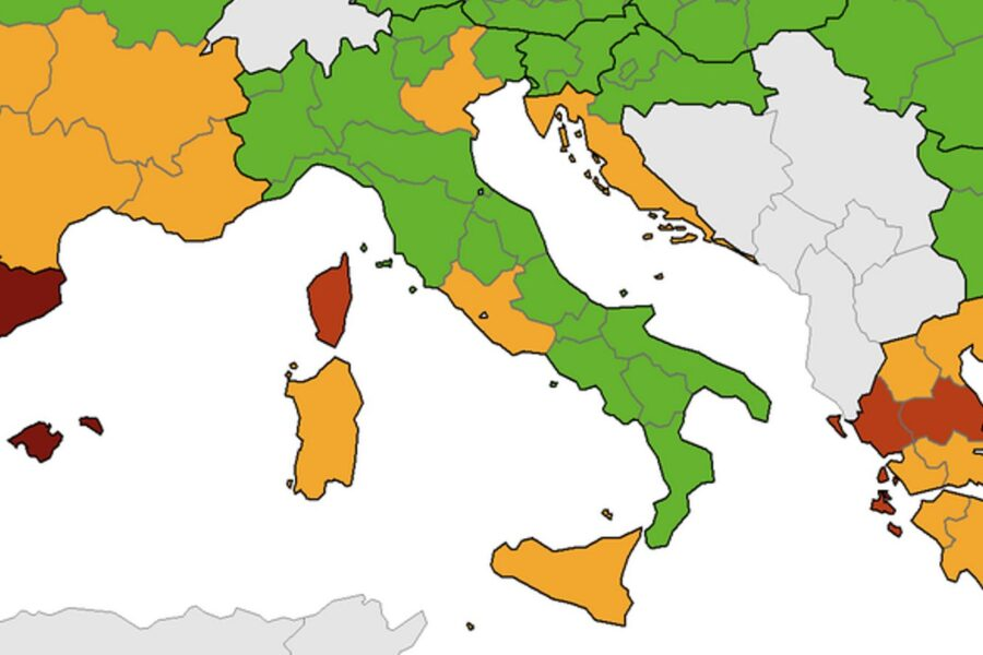Quattro regioni da verde a giallo in Italia. La mappa Ue con il numero dei casi per abitante