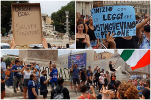 """Manifestazione contro il Green pass, è caccia ai giornalisti: """"Terroristi!"""""""