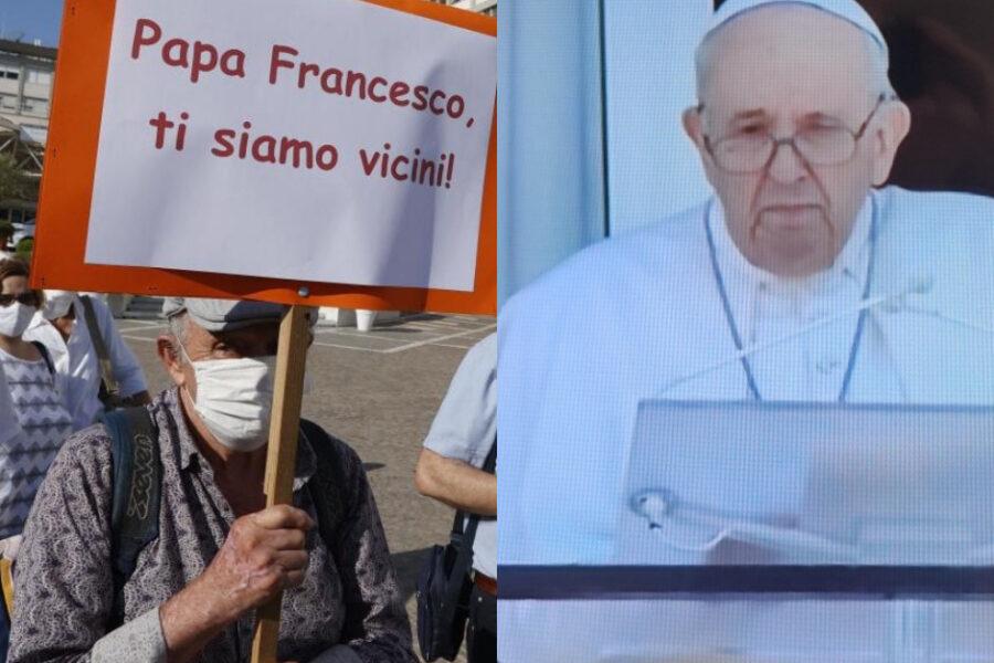 """Papa Francesco saluta i fedeli dal Gemelli: """"Grazie per le preghiere, il servizio sanitario gratuito è un bene prezioso"""""""