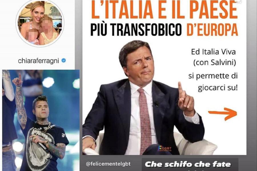 """Rissa tra Renzi e i Ferragnez sul ddl Zan: """"Banale e qualunquista dire che i politici fanno schifo"""""""